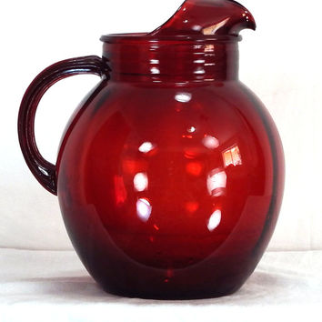 ON SALE Vintage Anchor Hocking Royal Ruby Ball Pitcher Red 1950s With Ice Lip
