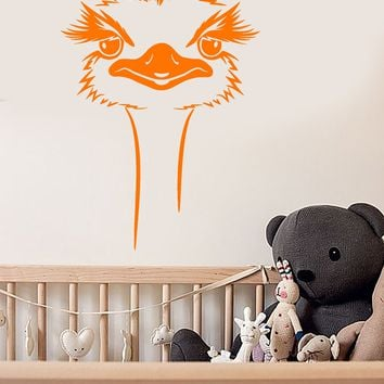 Vinyl Wall Decal Cartoon African Ostrich Head Big Bird Stickers (2742ig)