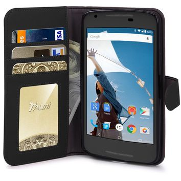 Nexus 5X Case, Tauri Wallet Leather Case with Stand, ID & Credit Card Pocket Flip Cover For LG Google Nexus 5X 2015 - Black
