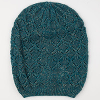 Diamond Knit Lurex Beanie Teal Blue One Size For Women 24520724601