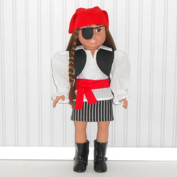 18 inch Girl Doll Pirate Halloween Costume Black and Red with Eye Patch American Doll Clothes