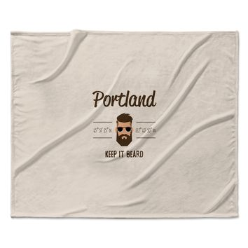 "Juan Paolo ""Original Hipster"" Beige Typography Fleece Throw Blanket"