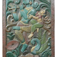 Consigned Ethnic Wall Panel Reclaimed Wood Radha Krishna The Eternal Lovers - Asian - Wall Accents - by Mogul Interior