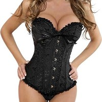 Lace up Back Sexy Corset for Women Lingerie Top Floral Bustier