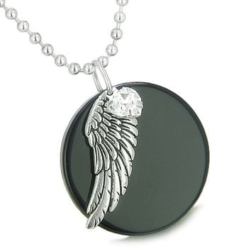 Angel Wing Black Agate White Cute Crystals Heart Lucky Charm Feather 18 Inch Pendant Necklace