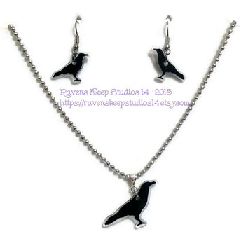 Ravens Keep Studios 14 Earring Set, Ravens Keep Studios 14 Necklace Set, Ladies Raven Jewelry Set, Ravens Jewelry, Crow Jewelry