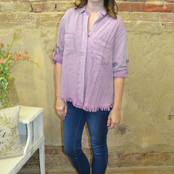 Frayed Hem Button Down Top: Lavender