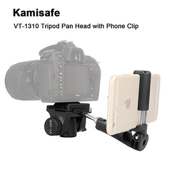 "Portable Lightweight Camera Video Tripod Pan Tilt Head with 1/4"" Screw Quick Release Plate & Phone Clip KINGJOY VT-1310"