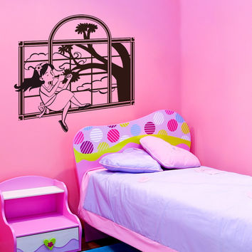 Vinyl Wall Decal Sticker Musical Girl in Window #OS_DC354