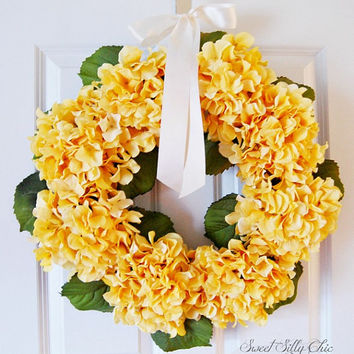 Yellow Hydrangea Wreath, Spring Summer Front Door Wreath, Easter, Mothers Day, Housewarming Gift