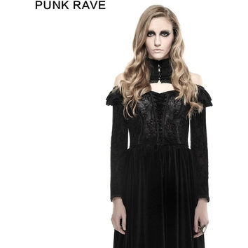 PUNK RAVE GOTHIC FLOCKING FLOWER PATTERN HIGH COLLAR STRAPLESS SEXY VELVET T-SHIRTS T-429