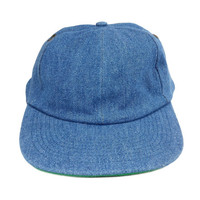 90s Dad Hat, Vintage 80s Plain Denim Cap Flat Bill Brim Jean Baseball Hats, Grunge Hipster Hip Hop Clothing Accessories Headwear