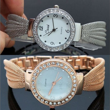 Women's Bracelet Luxury Stainless Steel Gold/silver Crystal Dial Quartz Watch [8833606092]