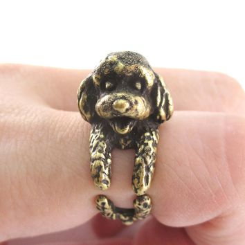 3D Realistic Toy Poodle Puppy Dog Shaped Animal Wrap Ring in Brass | US Sizes 5 to 8
