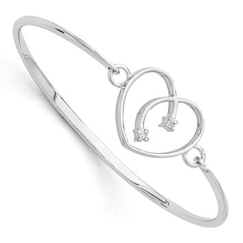 Rhodium Plated Sterling Silver & Diamond 20mm Heart Bangle Bracelet