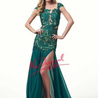 Mac Duggal 61041R Lace Sheer Illusion Prom Dress Evening Gown $625