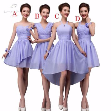 LANSITINA In Stock Chiffon Mini Bridesmaid Dress Cheap A-Line Pleat Party Prom Dresses Junior Bridesmaid Dresses