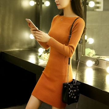 Sweater women autumn winter dress new long paragraph headband wild long-sleeved knit bottoming dress hot