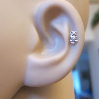 Tiny Owl Cartilage Earring, Owl Tragus earring, Nose stud, Helix earring