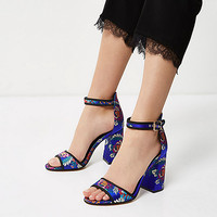 Blue print block heel sandals - sandals - shoes / boots - women