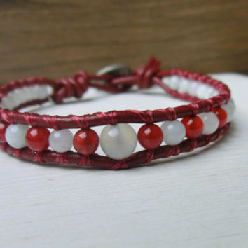 Snow Berries Red and White Jade, Moonstone, Agate Japanese Powerstone Leather Wrap Handmade Bracelet - Made in Japan by Off on a Whim