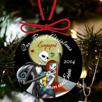 Personalized Nightmare Before Christmas Ornament Engaged or Married