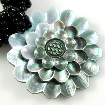 Mother of Pearl flower necklace pendant Beach by CoyoteRainbow