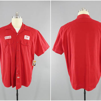 Miller High Life / Beer Delivery Uniform Shirt / Red Dickies Work Shirt / Miller Beer Patch / Short Sleeve Cotton Work Shirt / Size 2XL