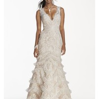 Extra Length V-Plunge Gown with Tiered Tulle Skirt - Davids Bridal