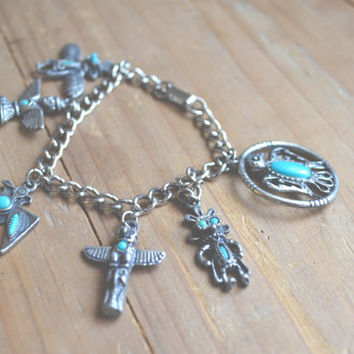 vintage native american charm bracelet // stainless steel // faux turquoise