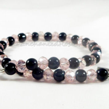 Pink & Black Beaded Anklet, Swarovski Crystal Ankle Bracelet, Pink Anklet, Ankle Jewelry, Sexy Jewelry, Summer Jewelry, Boho Anklet