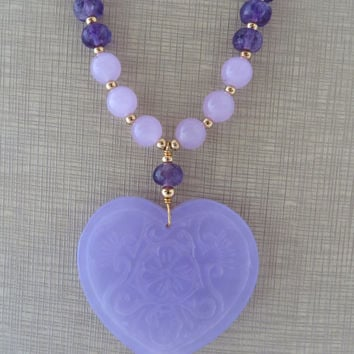 Lavender jade necklace, heart necklace, long pendant necklace, purple amethyst necklace, carved jade jewelry, stone jewelry, modern jewelry