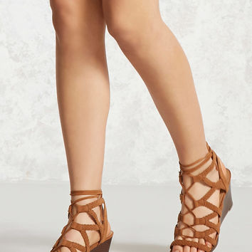 Faux Suede Braided Wedges