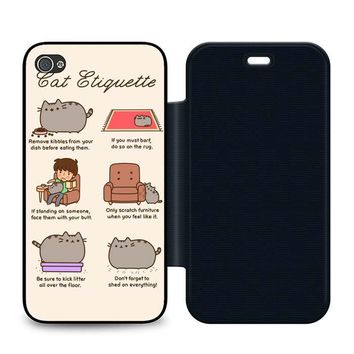 Pusheen Cat Eat Etiquette Leather Wallet Flip Case iPhone 4 | 4S