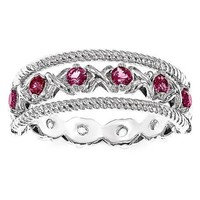 Sterling Silver Created Ruby & White Sapphire Flip Ring