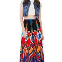 Black Mix Print Festival Maxi Skirt