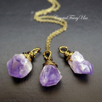 Tiny Rough Amethyst Necklace? Super Small Raw Amethyst Point Pendant