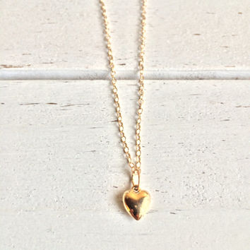 Stunning 14k Gold 6mm Heart Charm on a 14k Chain ~ Free 6mm Rose Quartz Bracelet!