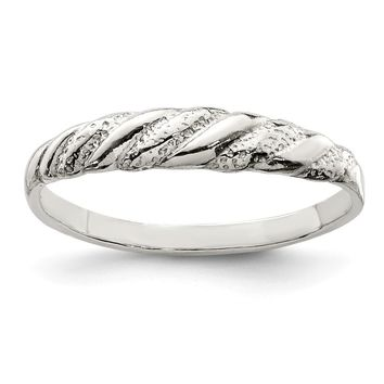 925 Sterling Silver Diamond-cut Twisted Ring