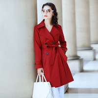 Burgundy or Aqua Double-Breasted Notched Collar Back Slit Cape Belted Coat
