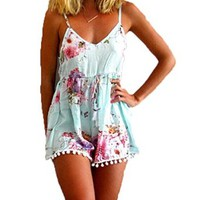 Women's Summer Sleeveless Spaghetti Strap Floral Printed Dress
