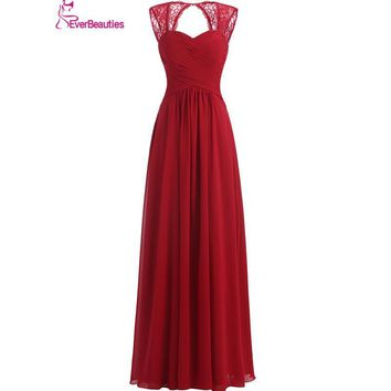 Bridesmaid Dresses Long 2017 Coral Burgundy Mint Navy Color Off The Shoulder Floor Length Chiffon Lace Vestido Madrinha
