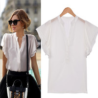 White V Neck Ruffled Sleeve Blouse