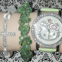 Green Hello Kitty Watch with Swarovski Bead Bracelet Set