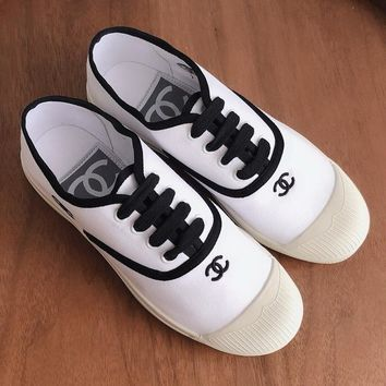 Chanel  Women Fashion Casual  Canvas Sneakers Sport Shoes