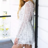 Long Sleeve Embroidery  Tassel Deep V-Neck  Dresses