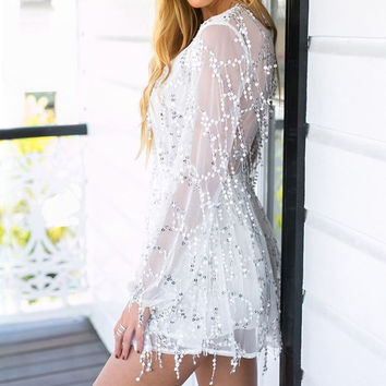 Long Sleeve Embroidery  Tassel Deep V-Neck Sexy Dresses