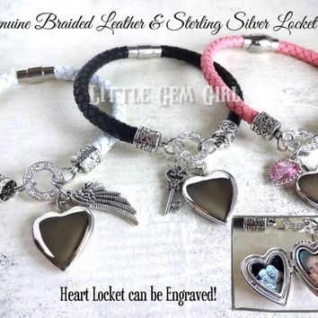 Custom Photo Sterling Silver Locket Bracelet  - 3 Colors 6mm Genuine Braided Leather Heart Locket w/ Engraving Option - Photo Charm Bracelet