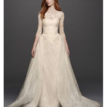 Oleg Cassini Quarter Sleeved Lace Wedding Dress - Davids Bridal