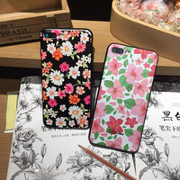 Fashion Beautiful Flower Plants Leaves Case For iphone 7 Case Cute Cartoon Cat Leaf Back Cover Phone Cases For iphone7 6 6S PLus -03129